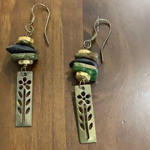 Brass and ceramic bead dangle earrings